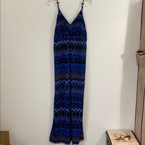 Black & Blue patterned Maxi Dress